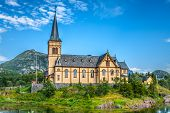 stock photo of lofoten  - Picturesque Lofoten cathedral on Lofoten islands in Norway - JPG