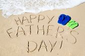 picture of children beach  - Happy father - JPG