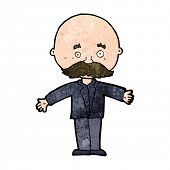 cartoon bald man with open arms