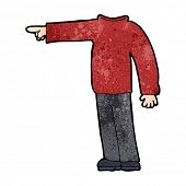 cartoon headless man pointing