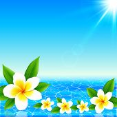 White tropical flowers on shining ocean background