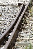 railroad, train rails, detail of railways in Spain