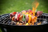 stock photo of flame-grilled  - Tasty skewers on the grill - JPG