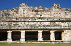 picture of quadrangles  - Ruins of the Nunnery Quadrangle Uxmal Mexico - JPG