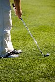 Golfer getting ready to hit the ball