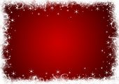 Red Christmas background with white stars and sparkles