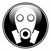 Gas Mask Symbol Button On White Background