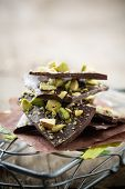 Homemade chocolate with crushed pistachios