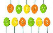 Colorful easter decoration on white isolated background