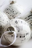 Christmas baubles made from old music book