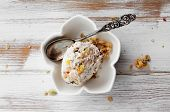Ice cream with dried fruits and muesli