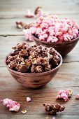 Chocolate pop corn in brown and pink