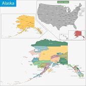 Map of Alaska state designed in illustration with the counties and the county seats