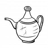 Teapot sketch, contour vector illustration