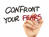 Confront Your Fears Words Written By 3D Hand