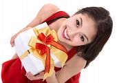 foto of christmas claus  - Beautiful Asia woman wear Santa Clause costume christmas girl happy smile hold new year gift box present in isolated on white background - JPG