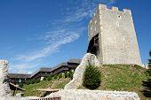 View of Savinja river and Lasko valley from medieval Celje castle in Slovenia