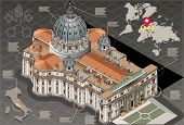 Isometric Infographic Of Saint Peter Of Vatican