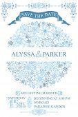 Winter wedding save date card.Snowflakes circle