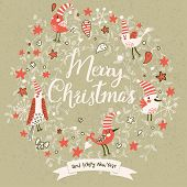 Fantastic Merry Christmas card in vector. Cute stylish birds on Merry Christmas text on vintage background