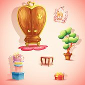 A set of furniture and items for the doll princess bedroom