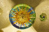 Ceramic Mosaic In Park Guell (barcelona)