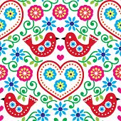 Folk art seamless pattern with flowers and birds