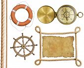 picture of treasure map  - nautical objects rope - JPG