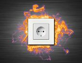 stock photo of electric socket  - one electric socket - JPG