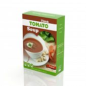 3D tomato soup paper package isolated on white