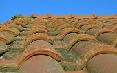 Close-up of red roman roof tiles
