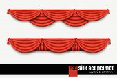 red silk set Pelmet and silk red curtains