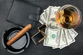 Cigar, Ashtray, Lighter, Money, Purse, Glass   On Genuine Leather