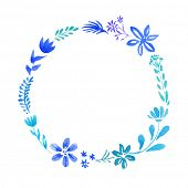 stock photo of oval  - Watercolor vector floral oval wreath with leaves and flowers - JPG