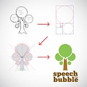 Speech Bubble Tree Abstract Vector Logo Template from Idea to Implementation with Golden Ratio
