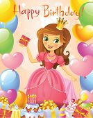 Happy Birthday, Princess, greeting card. Illustration of beautiful princess keeping a gift on a hand. Possible to use as party invitation, greeting card, banner. Vector illustration.