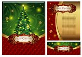 stock photo of coupon  - Set of a bright festive Christmas greeting card - JPG