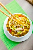 foto of crispy rice  - Chicken curry rice with crispy chinese omellete chinese chopsticks