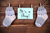 Label Saying It Is A Boy