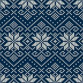 Winter Holiday Sweater Design On The Wool Knitted Texture. Seamless Pattern