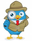 pic of private investigator  - Clipart Picture of a Detective Blue Bird Cartoon Character - JPG