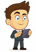 Vector Businessman Holding Tablet PC