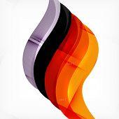 Fire orange abstract swirl template, modern futuristic wave