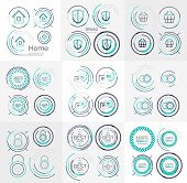 Thin line neat design large logo colletion - 36 clean modern icons and stamps