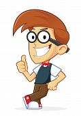 stock photo of geek  - Clipart Picture of a Nerd Geek Cartoon Character Leaning on an Empty Block - JPG