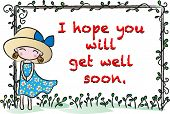 girl standing withe a greeting card
