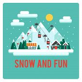 Ski resort in mountains, winter time, snow and fun