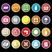 Sewing Cloth Related Flat Icons With Long Shadow