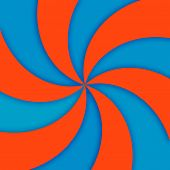 Orange and turquoise spiral movement