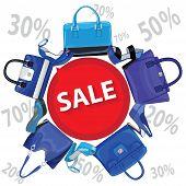 Blue fashion women's handbag,high heel shoes.Sale